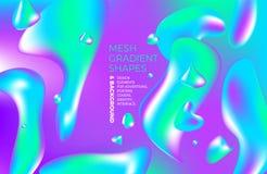 Tło gradientu 3D stubarwny abstrakcjonistyczny wektorowy holograficzny tło z postaciami i przedmiotami dla sieci pakuje, plakat,  Obraz Royalty Free