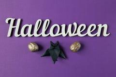 Tło Halloweenowy dekoracja tekst i papercut nietoperz Odgórny widok Obraz Stock