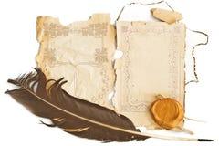 tło papier piórkowy stary Zdjęcia Stock