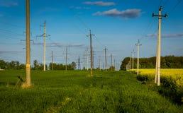 Tło rolniczy rapeseed pola i betonowy elektryczny Obrazy Royalty Free