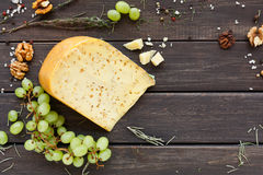 tło ser zawiera siatka ilustracyjnego wektor Gouda z ziele na nieociosanym drewnie Fotografia Stock