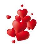 tło serc czerwony biel Fotografia Royalty Free