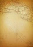 Tło sztuki Antyczna mapa Zdjęcia Stock