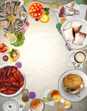 Tło sztuki Nowy Orlean kuchnia Obrazy Stock