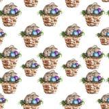 Tło Wielkanocny królik w koszu akwarela royalty ilustracja