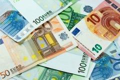tło wystawia rachunek euro Zdjęcia Stock