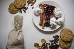 Tło z cheesecake 01 i ciastkami Zdjęcie Royalty Free