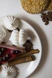 Tło z cheesecake 04 i ciastkami Obrazy Royalty Free