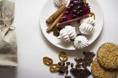 Tło z cheesecake 08 i ciastkami Zdjęcie Stock