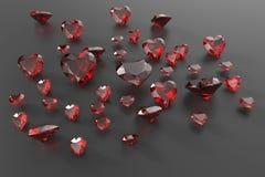 Tło z czerwonymi gemstones ilustracja 3 d Obrazy Royalty Free