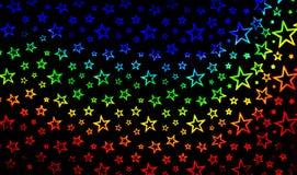 Tło z jaskrawymi stubarwnymi gwiazdami Zdjęcia Stock
