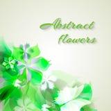 Tło z jasnozielonymi abstrakcjonistycznymi kwiatami Zdjęcia Royalty Free