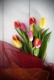 Tło z kolorowymi tulipanami Obrazy Royalty Free