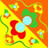 Tło z kreskówka kwiatami Obraz Royalty Free