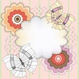 Tło z kwiatami i motylami Fotografia Royalty Free