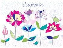 Tło z kwiatami i ptakami i Zdjęcia Royalty Free