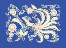 Tło z kwiatami i ptakiem Obrazy Stock