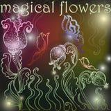 Tło z magicznymi kwiatami Obrazy Stock