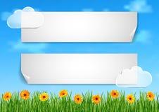 Tło z niebem, chmury, trawa, gerbera kwitnie ilustracji