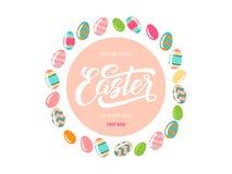 Tło z ornamentacyjnymi jajkami i królikami Obraz Royalty Free