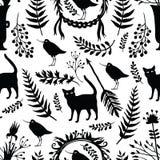 Tło z sylwetkami ptaki i koty, flo royalty ilustracja