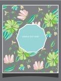 Tło z wildflowers z tekstem Fotografia Stock