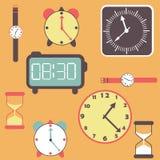 Tło z zegarami i zegarkami ilustracji