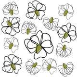 Tło zarysowywa kwiaty Obrazy Stock