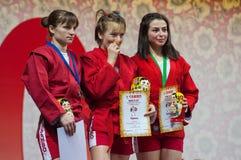 T Osoianu, E Bondareva, L Abbasova op podium Royalty-vrije Stock Afbeelding