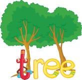 T para el árbol stock de ilustración