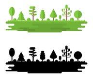 For?t, parc, all?e avec diff?rents arbres Panorama de for?t d'?t? Concept d'?cologie Illustration de vecteur d'isolement sur Back illustration libre de droits