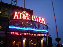 AT&T Park - Home of the Giants - Neon Sign at night Royalty Free Stock Images
