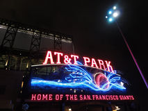 AT&T Park - Home of the Giants - Neon Sign at night with visual Stock Images