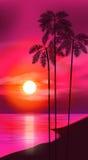 tła projekta kwiecistej noc bezszwowy lato twój Drzewka palmowe na tle Zdjęcie Stock