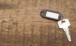 tła pustego klucza srebra etykietka drewniana Zdjęcie Royalty Free