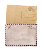 tła pustej karty stary poczta biel Zdjęcia Royalty Free