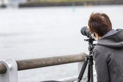 T?quio, Jap?o, 04/08/2017 Homem asiático que toma imagens na rua foto de stock royalty free