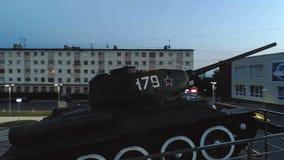 T-34 Radzieckiego wojska Batalistycznego zbiornika Średni Pamiątkowy zabytek przy nocą Zdjęcia Stock
