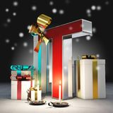`T` 3d letter with christmas atmosphere. `T` red and white 3d letter with presents, candles and snow. Christmas atmosphere Stock Image