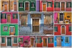 Türen und Fenster von Burano (Venedig) Royalty Free Stock Images