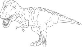 T rex. Vector - contour T Rex isolated on background Royalty Free Stock Images
