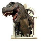 T-Rex. Coming out of a window stock images