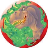 T rex bust emblem Stock Photo