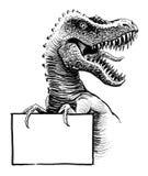 T-Rex com um sinal ilustração royalty free
