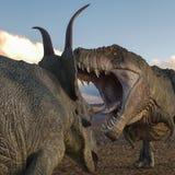 T-rex contra diabloceratops ilustración del vector