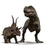 T-rex contre des diabloceratops illustration libre de droits