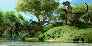 T-Rex Defiance. Two Tyrannosaurus dinosaurs roar in frustration as Coahuilaceratops dinosaur uses the water as a refuge from attack Royalty Free Stock Photography