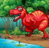 T-Rex die in de wildernis lopen Royalty-vrije Stock Foto's