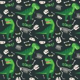 T Rex and Dino Bones Roar Seamless Pattern Dark Background Vector Illustration. All elements are grouped together logically and easy to edit Stock Images