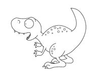 T-rex Dinosaur black and white. Digital black and white illustration representing a funny t-rex dinosaur Royalty Free Stock Images